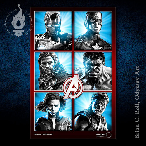 Avengers, Iron Man, Captain America, Thor, Hulk, Black Widow, Hawkeye, Brian C. Roll, Odyssey Art