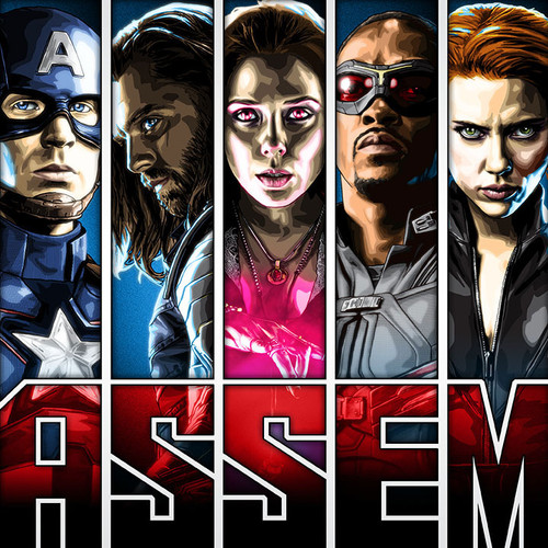 Captain America, Winter Soldier, Scarlet Witch, Falcon, Black Widow, Hawkeye, Ant-Man, Thor, Brian C. Roll, Odyssey Art, thbnail