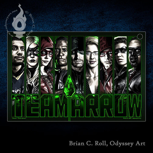 Arrow, Team Arrow, Green Arrow, Stephen Amell, Brian C. Roll, Odyssey Art