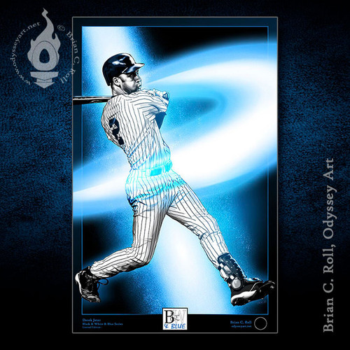 Derek Jeter, New York Yankees, Black & White & Blue, Brian C. Roll, Odyssey Art