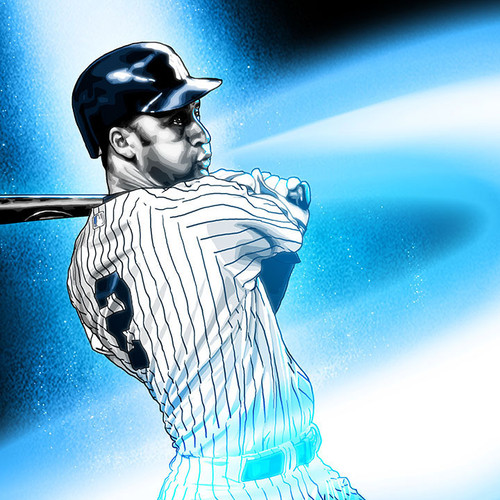 Derek Jeter, New York Yankees, Black & White & Blue, Brian C. Roll, Odyssey Art, thbnail