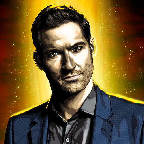Lucifer, Tom Ellis, 12x36 Canvas, Brian C. Roll, Odyssey Art, thbnail
