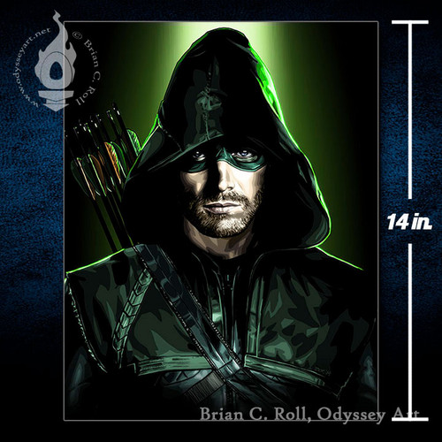 The Arrow, Oliver Queen, Stephen Amell, 11x14 Canvas, Brian C. Roll, Odyssey Art