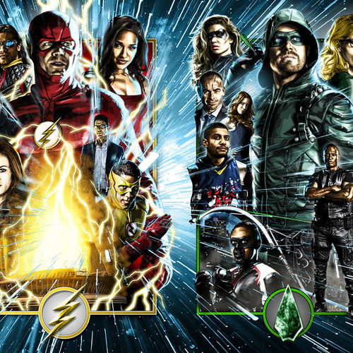Arrowverse Canvas, Arrow, Flash, Grant Gustin, Stephen Amell, Brian C. Roll, Odyssey Art, 16x40 Rolled Canvas