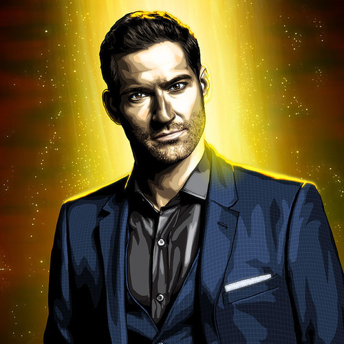 Lucifer, Tom Ellis, Drink, 16x20 Canvas, Brian C. Roll, Odyssey Art, thbnail