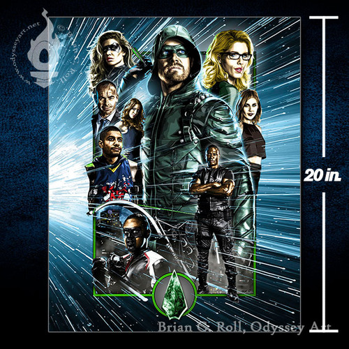 DCTV Arrow, Green Arrow, Stephen Amell, 16x20 Canvas, Brian C. Roll, Odyssey Art