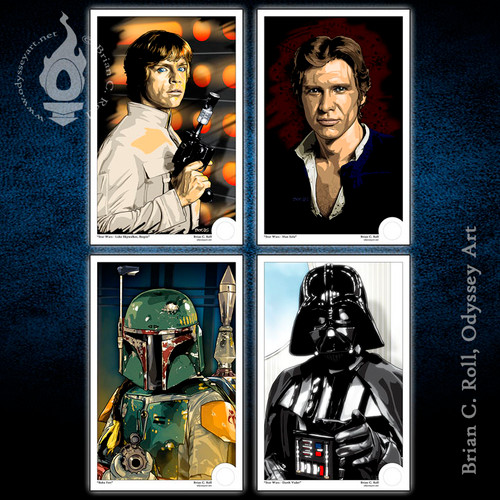 Star Wars, Han Solo, Luke Skywalker, Darth Vader, Boba Fett, Mini-Print, Brian C. Roll, Odyssey Art