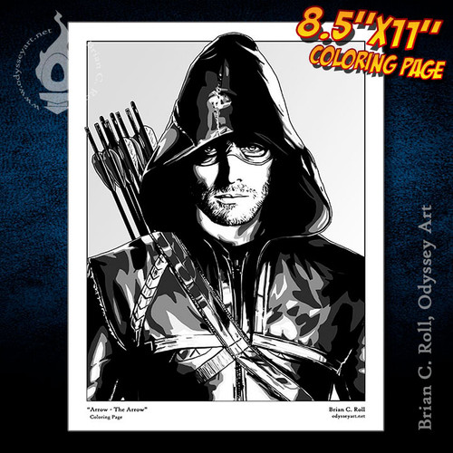Coloring Page, Arrow, Oliver Queen, Green Arrow, Stephen Amell, Brian C. Roll, Odyssey Art, free