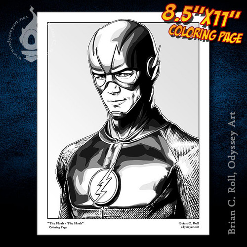 Coloring Page, Flash, Barry Allen, Grant Gustin, Brian C. Roll, Odyssey Art