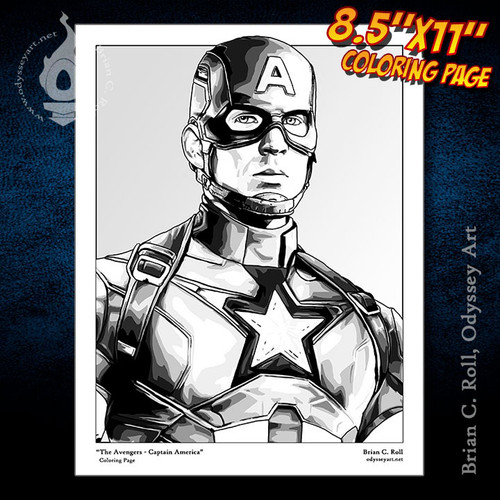 Coloring Page, Captain America, Avengers, Steve Rogers, Chris Evans, Brian C. Roll, Odyssey Art
