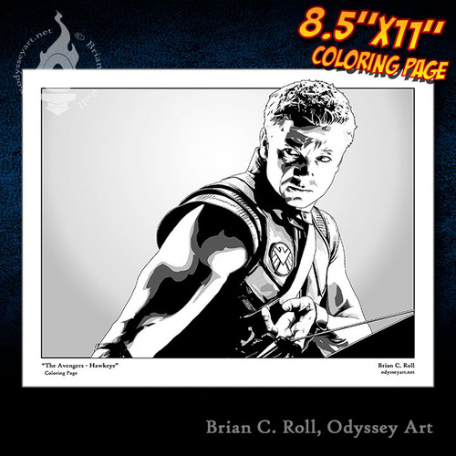 Coloring Page, Hawkeye, Avengers, Clint Barton, Jeremy Renner, Brian C. Roll, Odyssey Art