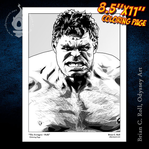 Coloring Page, Hulk, Avengers, Bruce Banner, Mark Ruffalo, Brian C. Roll, Odyssey Art