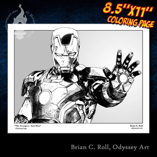 Coloring Page, Iron Man, Avengers, Tony Stark, Robert Downey Jr, Brian C. Roll, Odyssey Art