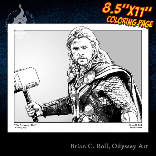 Coloring Page, Thor, Avengers, Chris Hemsworth, God of Thunder, Brian C. Roll, Odyssey Art