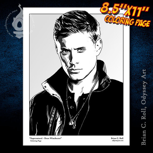 Coloring Page, Supernatural, Dean, Winchester, Jensen Ackles, Brian C. Roll, Odyssey Art