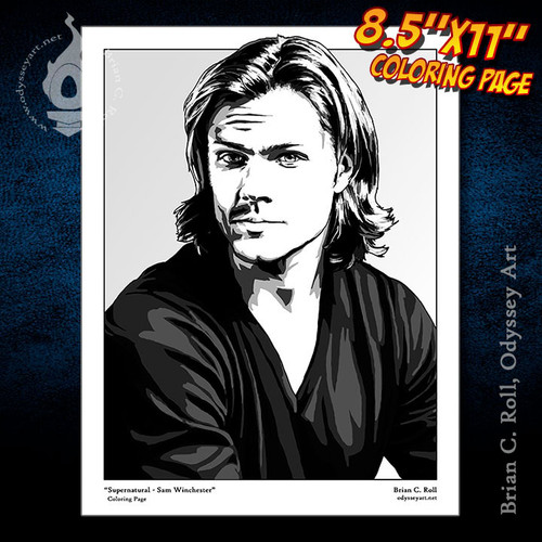 Coloring Page, Supernatural, Sam, Winchester, Jared Padalecki, Brian C. Roll, Odyssey Art