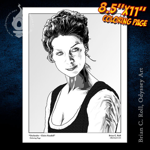 Coloring Page, Outlander, Claire, Randall, Fraser, Caitriona Balfe, Brian C. Roll, Odyssey Art