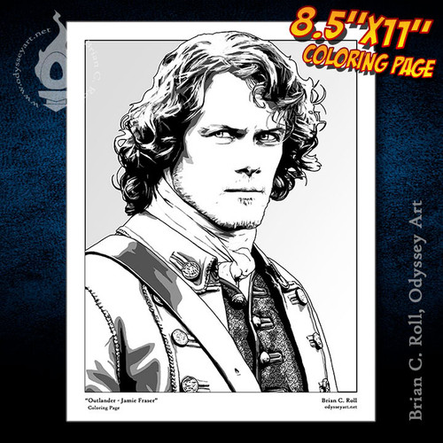 Coloring Page, Outlander, Jamie, Fraser, Sam Heughan, Brian C. Roll, Odyssey Art