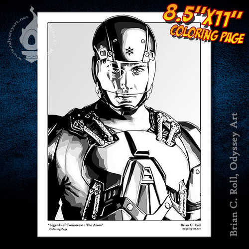 Coloring Page, Atom, Ray Palmer, Brandon Routh, Legends of Tomorrow, Brian C. Roll, Odyssey Art