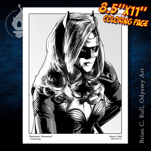 Coloring Page, Batwoman, Kate Kane, Ruby Rose, Arrowverse, Brian C. Roll, Odyssey Art