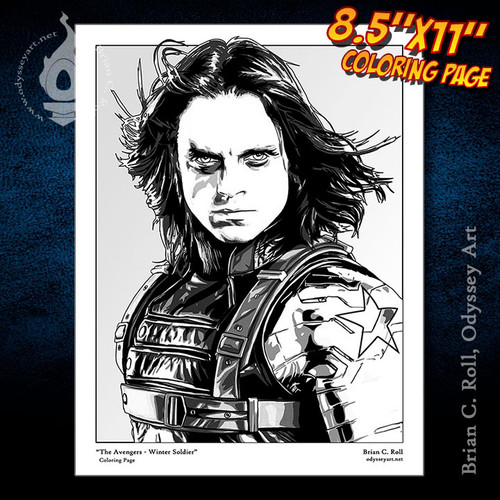 Coloring Page, Captain America, Avengers, Winter Soldier, Bucky Barnes, Sebastian Stan, Brian C. Roll, Odyssey Art
