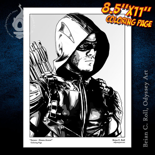 Coloring Page, Arrow, Oliver Queen, Green Arrow, Stephen Amell, Brian C. Roll, Odyssey Art