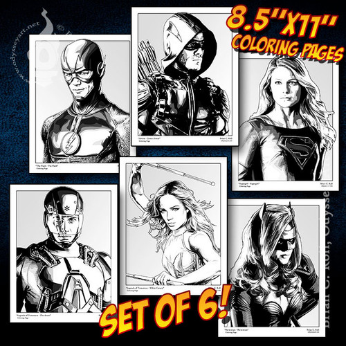 Coloring Pages, Arrowverse, 6 pack, set, Brian C. Roll, Odyssey Art