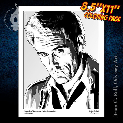 Coloring Page, Constantine, Legends of Tomorrow, Matt Ryan, John Constantine, Brian C. Roll, Odyssey Art
