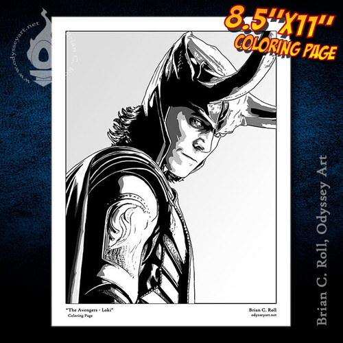 Coloring Page, Loki, Avengers, Tom Hiddleston, Thor, Brian C. Roll, Odyssey Art