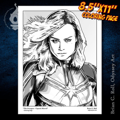 Coloring Page, Captain Marvel, Avengers, Carol Danvers, Brie Larson, Brian C. Roll, Odyssey Art