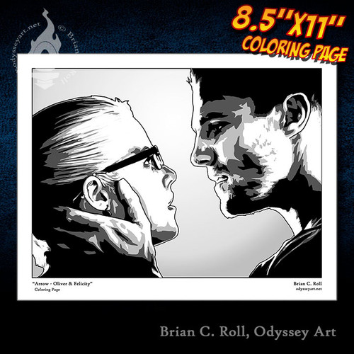 Coloring Page, Arrow, Oliver Queen, Green Arrow, Felicity Smoak, Olicity, Stephen Amell, Emily Bett Rickards, Brian C. Roll, Odyssey Art