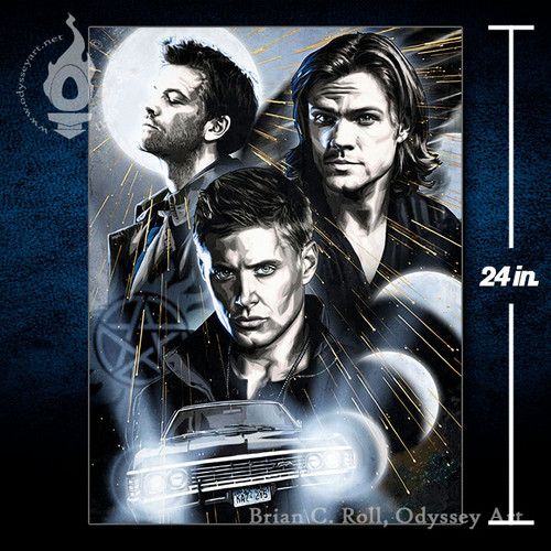Supernatural, Dean, Sam, Winchester, 18x24 Canvas, Brian C. Roll, Odyssey Art