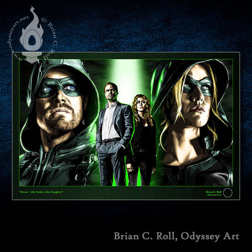 Arrow -Like Father Like Daughter, Oliver Queen, Mia Smoak, Mia Queen, Stephen Amell, Green Arrow, Kat McNamara, Brian C. Roll, Odyssey Art