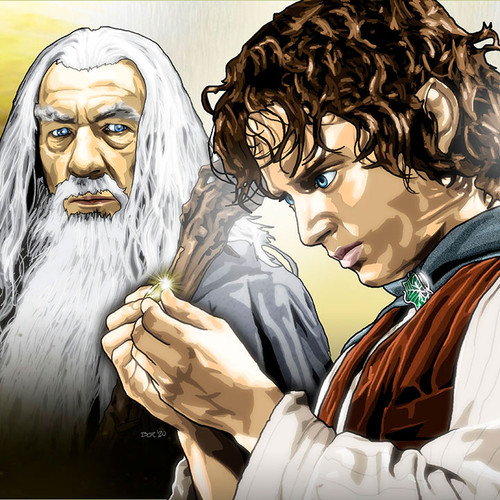 "Lord of the Rings, 17""x5.5"" cast print, Brian C. Roll, Odyssey Art, thbnail"