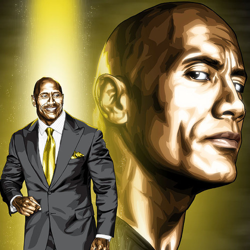 "Dwayne Johnson is The Rock, 8.5""x11"" print, Brian C. Roll, Odyssey Art, thbnail"