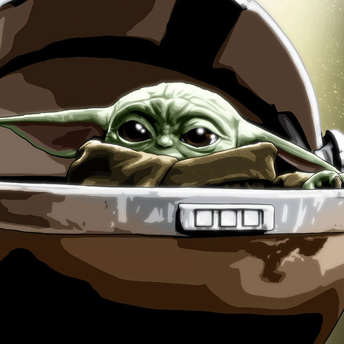 "Star Wars: The Mandalorian: The Child 8.5""x11"" art print, Baby Yoda art, Grogu art, Brian C. Roll, Odyssey Art, thbnail"
