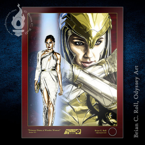 "Alter-Egos Series 6:  8.5""x11"" limited edition Wonder Woman art print, gold armor"