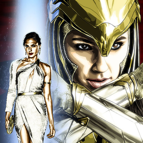 "Alter-Egos Series 6:  8.5""x11"" limited edition Wonder Woman Diana Prince art print, gold armor, thbnl"