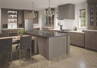Contemporary kitchen in Translucent Driftwood finish with island in Burmese finish