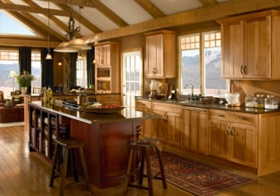 Rustic kitchen in Honey Spice finish with island in Cabernet finish