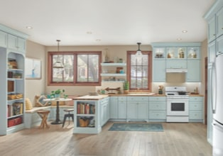 Traditional kitchen with peninsula, eat-in dining area and bookshelf in Surfside finish