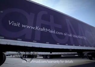 Tractor trailer with KraftMaid Cabinetry logo and URL