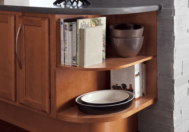 Passport Series open storage unit with rounded-corner shelves installed at the end of a base cabinet run