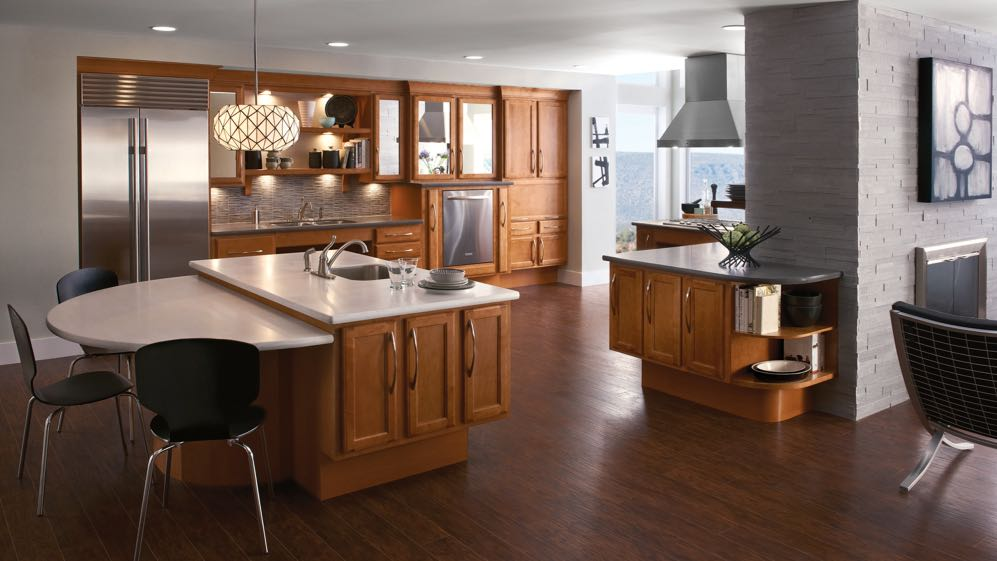 Contemporary kitchen featuring KraftMaid Passport Series cabinets in Praline finish