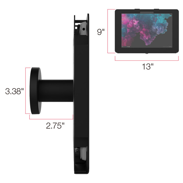 Elevate II On-Wall Mount Kiosk for Surface Pro 7 | 6 | 5 | 4 (Black)