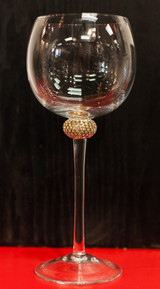Wine Glass with Gold and Cut Crystal Accents by Alan Lee