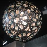 Spherical Metal Chandelier with Flower Crystals