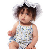 Floral Ruffled Bubble Romper, modeled by the incredibly cute Seline!