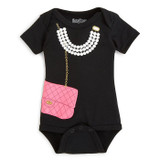 Girls Purse and Pearls Onesie, Black