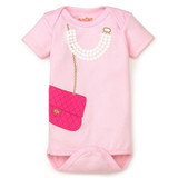 Pink Girls Purse and Pearls Onesie